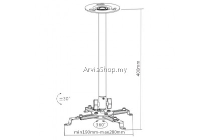Brateck Height Adjustable Solid Ceiling Projector Bracket  - PRB-4