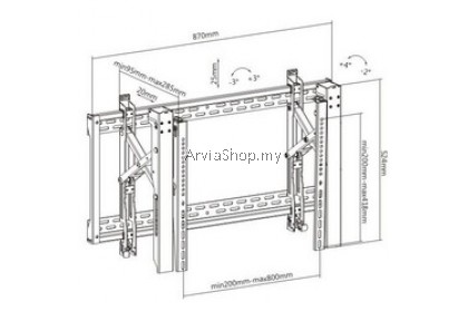 """Videowall Mount Bracket With Pop Out Fits most 45""""-80""""- P06-48T"""
